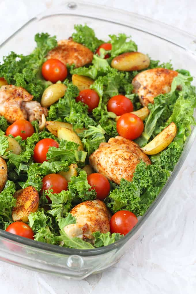 Dinner doesn't get much better than this. A one pan Chicken, Potato & Kale Traybake ready in just 30 minutes | My Fussy Eater blog