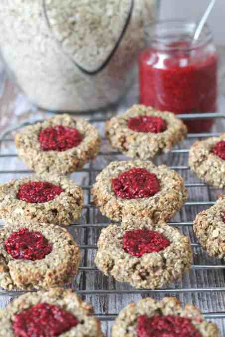 Delicious and healthy Oat Thumbprint Cookies. Gluten, dairy and refined sugar free! | My Fussy Eater blog