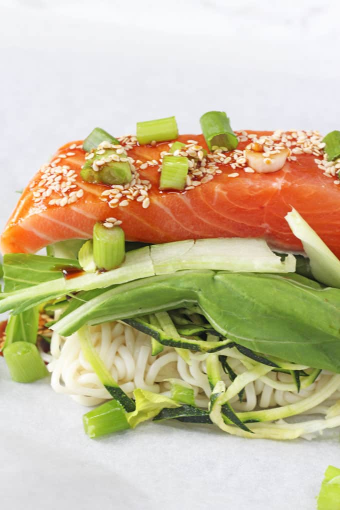 A delicious and easy one pan meal with salmon, noodles and vegetables all cooked together in a parchment parcel   My Fussy Eater blog