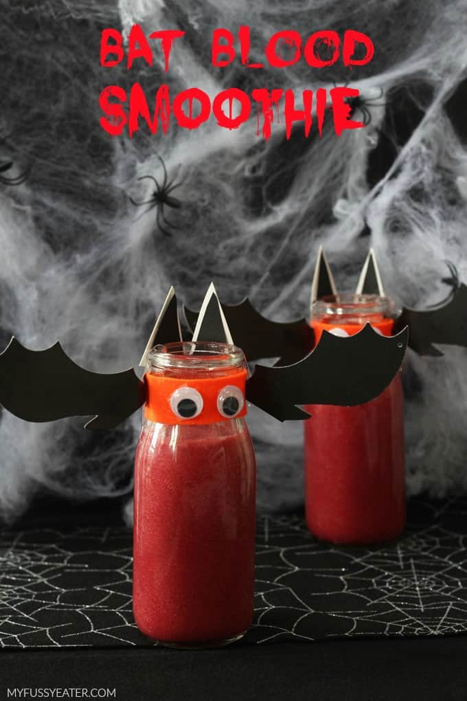 Bat Blood Smoothie! A fun and healthy snack for kids that's perfect for Halloween!