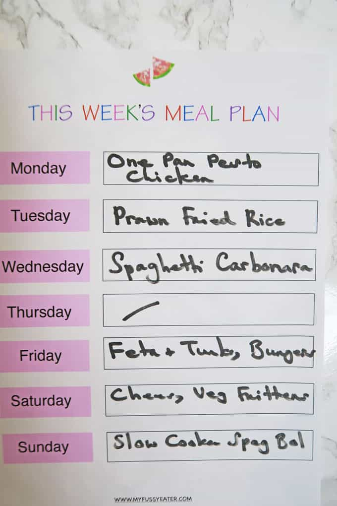 Family Meal Plan Week #9 - My Fussy Eater Healthy Kids Recipes - weekly healthy meal plan