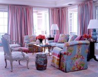 Colorful Pink and Blue Living Room - Room Decor and Design