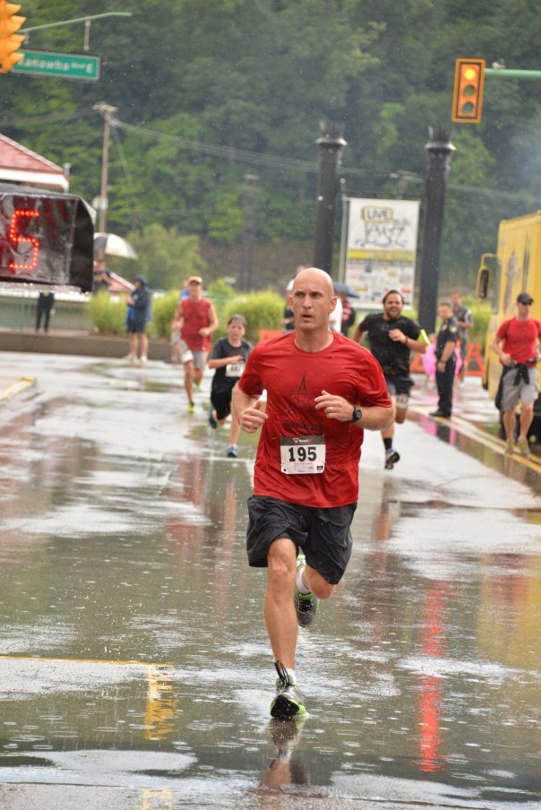 Finish line from a race on July 4...in the rain