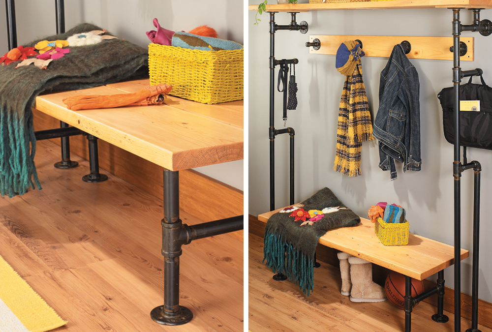Build A Bench Coat Rack From Pipes My Home My Style