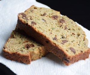 Close up view of homemade chocolate chip zucchini banana bread