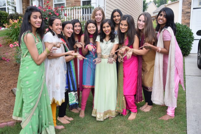 Bridesmaids at Indian bridal henna party