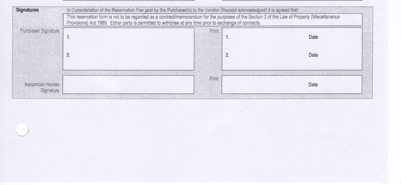 Reservation Forms My Keepmoat Hell