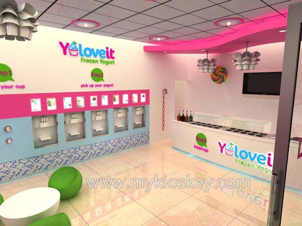 Stores That Have 3d Wallpaper Lasted Self Frozen Yogurt Shop Furniture Design With Ce