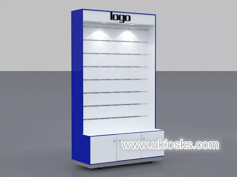 Cell Phone Case Wall Display Cabinet With Many Shelves And