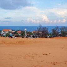 red sand dunes oceanview