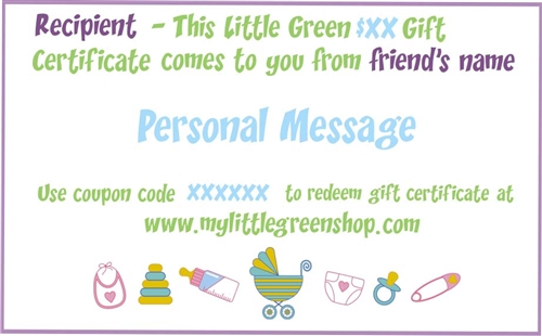 My Little Green Gift Certificate, my little green shop, vancouver