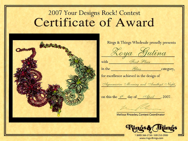 2007 Gemstone and beaded jewelry contest First Place Winner Certificate