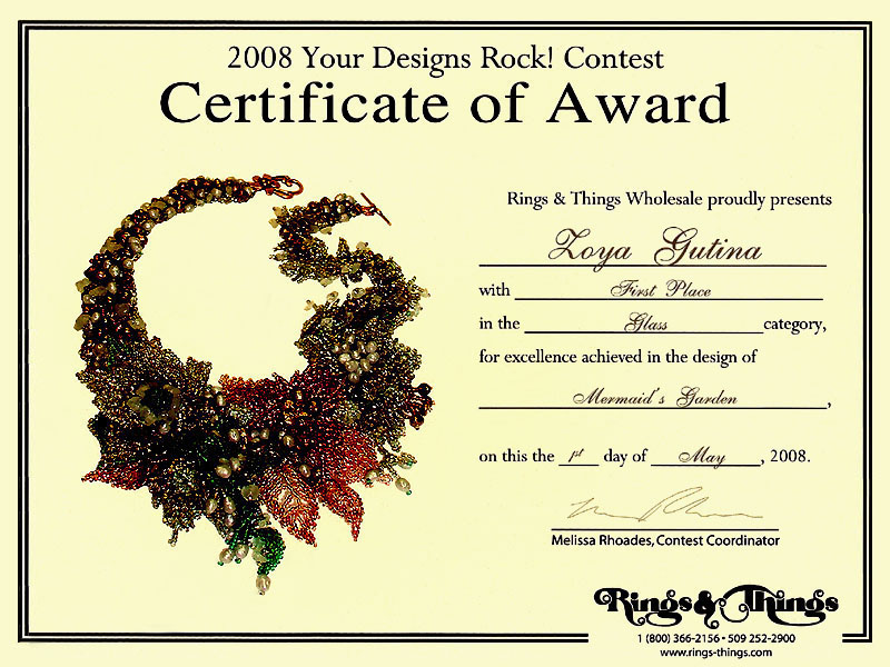 2008 Gemstone and beaded jewelry contest First Place Winner Certificate