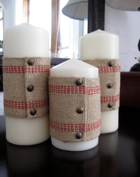 """Upholstery Tacks to decorate Candles"