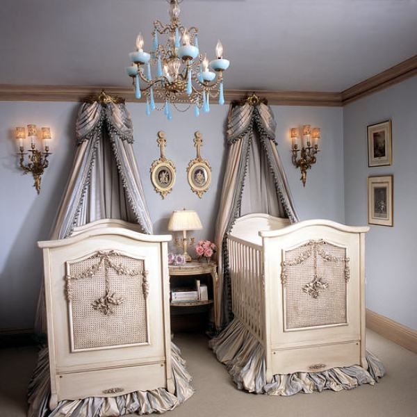 """""""Blue and Ivory Bed Crown Canopy"""""""