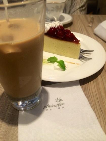 Ice-coffee and cherry cheesecake
