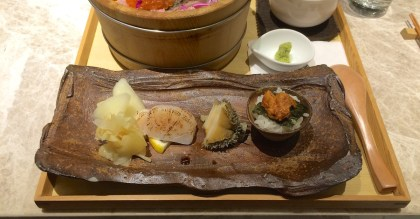 Not sure what kind of seafood is next to the uni, but the texture is like a sea cucumber