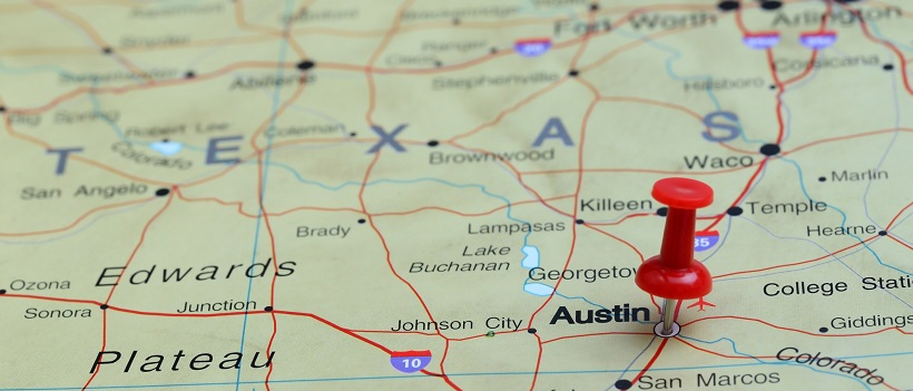 Austin pinned on a map of USA - Austin Homes for Sale New Homes