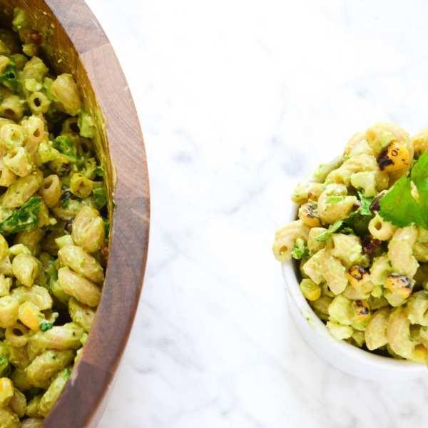 Creamy Avocado and Mexican Street Corn Pasta Salad + Tea and Lemonade Pops