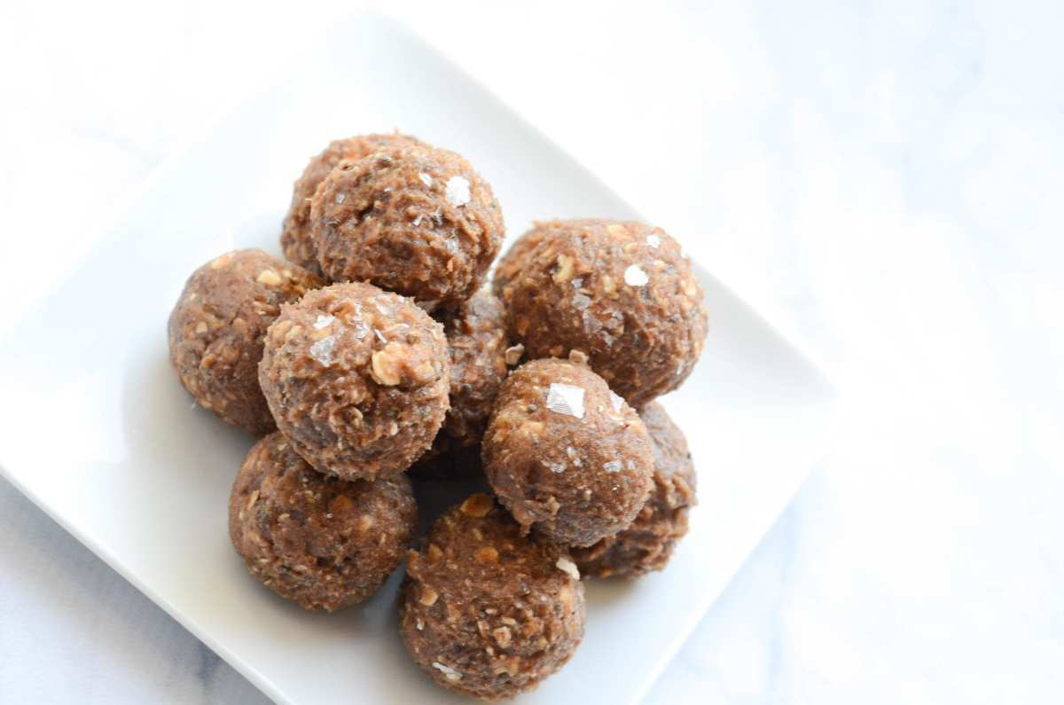 Salted Caramel Chocolate Protein Bites