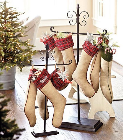 You can even buy stocking holders! I didn't check the price on any of them,  but click on the photo source below the picture to find out where to buy  them. - Where To Hang Stockings If You Don't Have A Fireplace Or Mantel