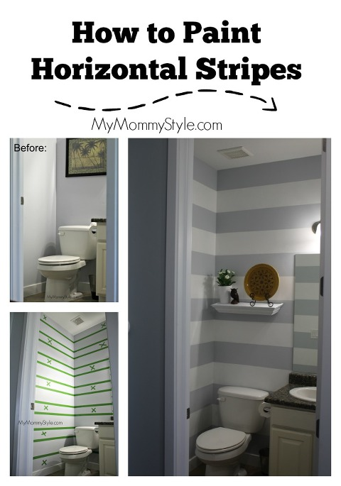 how to paint horizontal stripes, horizontal stripes, small bathroom, small bathroom decor, diy paint stripes, mymommystyle.com