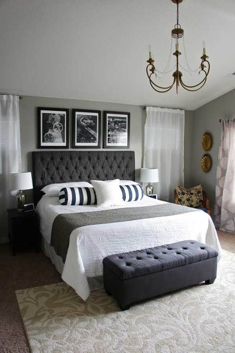 Master Bedroom Grey With Black And White Accents