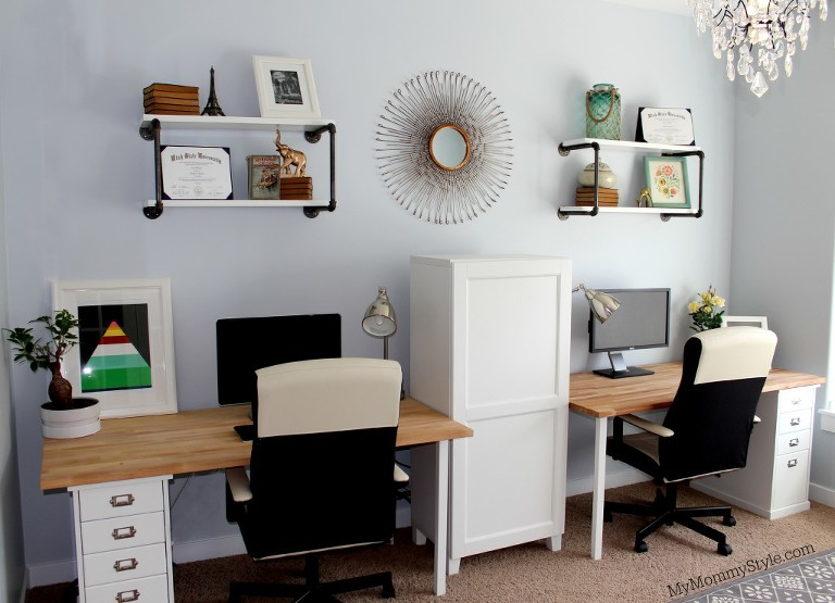 family office, beachy office, his and her office, IKEA, My Mommy Style, MyMommyStyle.com, Camille Walker, family office, design