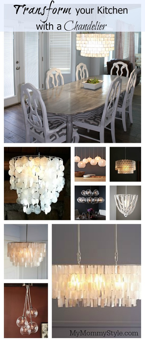 Transform your kitchen with a chandelier my style saturday my chandelier kitchen lighting west elm mymommystyle chandelier lighting aloadofball Gallery
