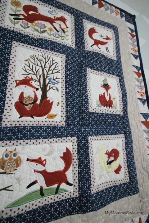 nursery, fox nursery, boy, baby, fox mobile, fox quilt, quilting