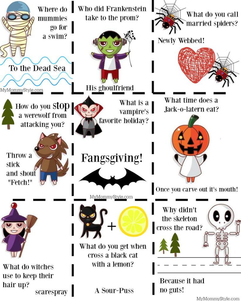 Free Halloween Joke Printables for Kids - My Mommy Style