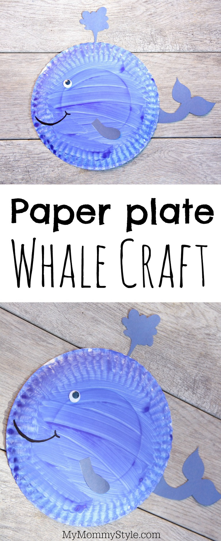 Whale paper plate craft my mommy style for Whale crafts for kids