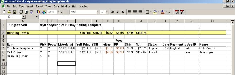 My eBay Selling Template (in Microsoft Excel) \u2014 My Money Blog
