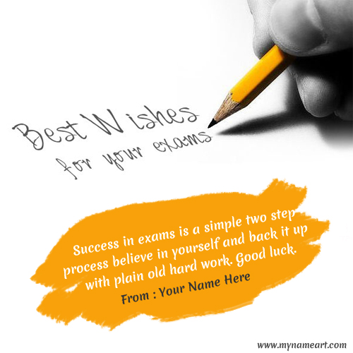 Write Name On Best Of Luck For Exam Greeting Card Image