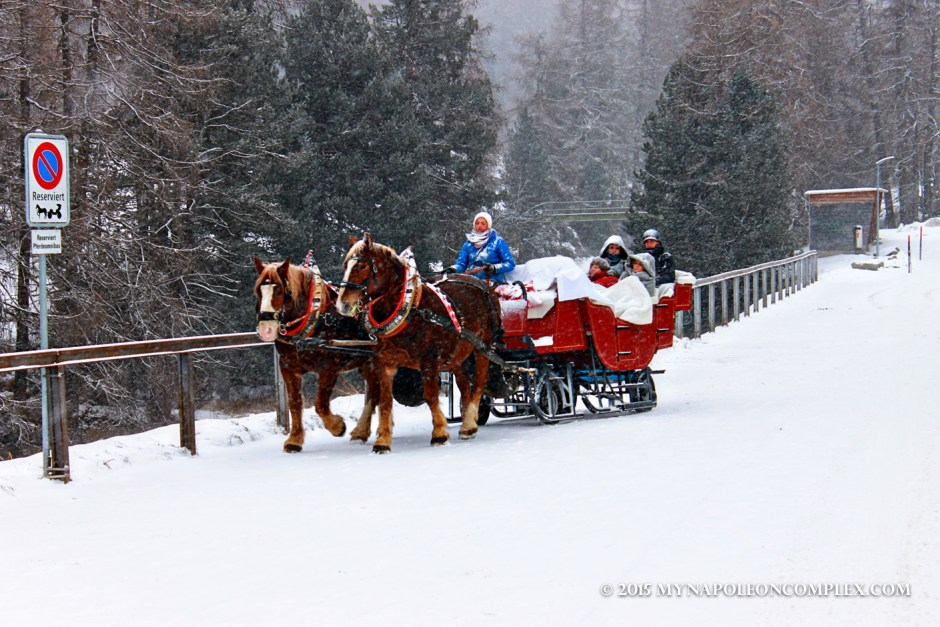 Picture of horse-drawn carriage in St. Moritz, Switzerland.