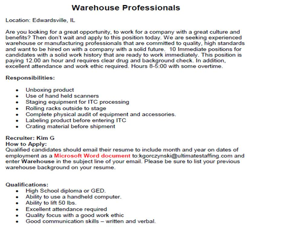 warehouse qualifications