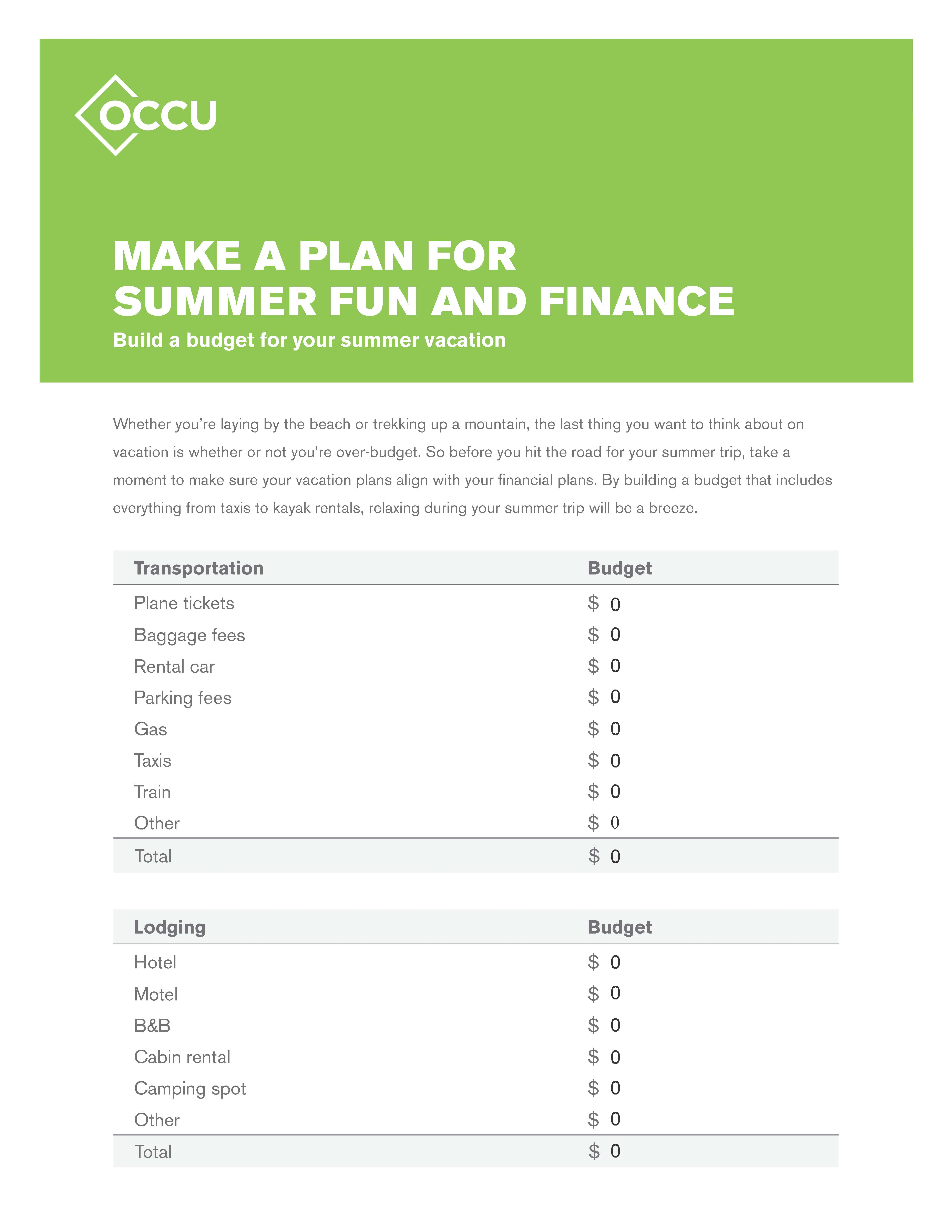 Simple tips for vacation budgeting Oregon Community Credit Union