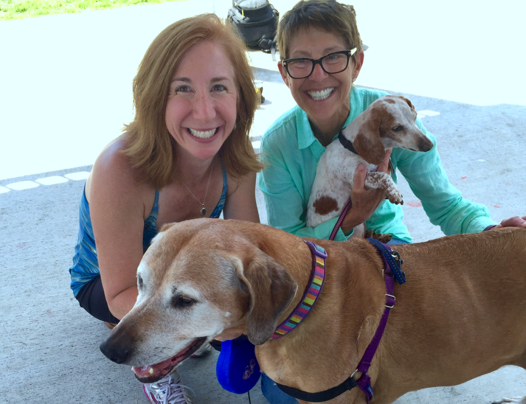 Laura Coffey and Jane Sobel Klonsky with dogs