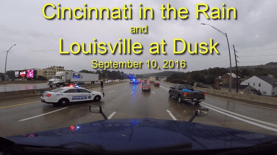 Cincinnati in the Rain and Louisville at Dusk