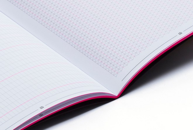 notebook pink fluo grille