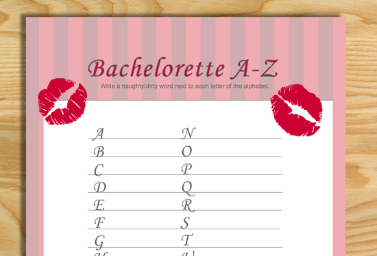 Free Printable Naughty Alphabet Game for Bachelorette Party
