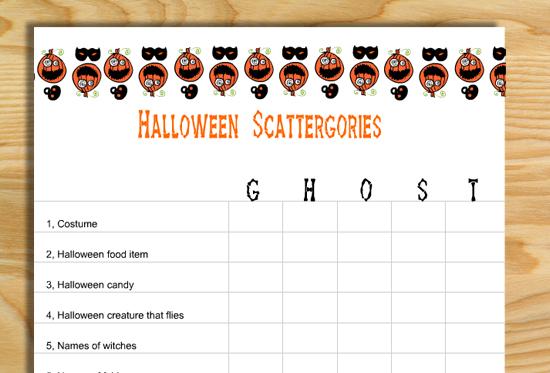 Free Printable Scattergories inspired Halloween Game