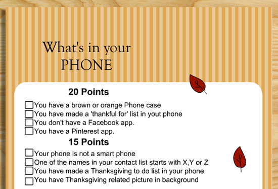 What\u0027s in your Phone? Free Printable Thanksgiving Game for Adults