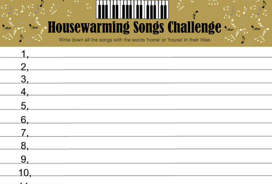 Housewarming Songs Challenge Game