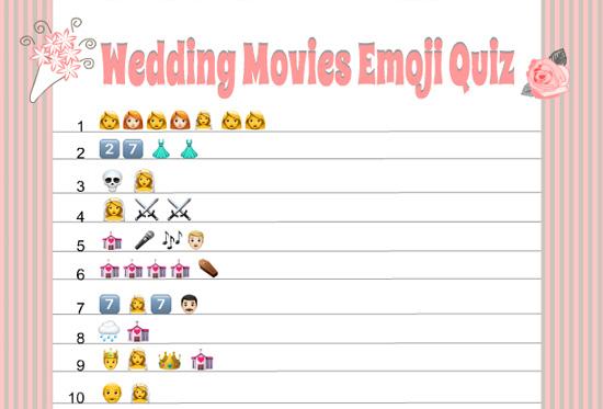 Free Printable Wedding Movies Emoji Pictionary Quiz