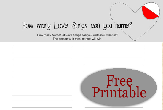Free Printable How Many Love Songs Can you Name? Game