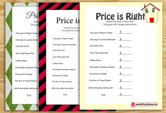 Price is Right, Free Printable Housewarming Game