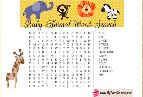 Free Printable Baby Animal Word Search Game