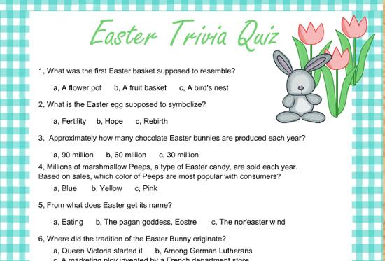 Free Printable Easter Trivia Quiz