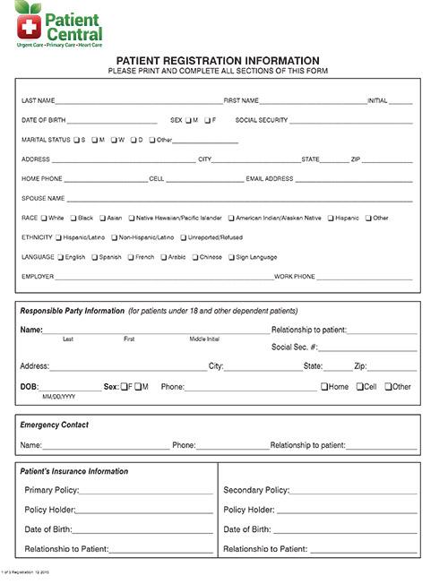Patient Central - Urgent Care Forms